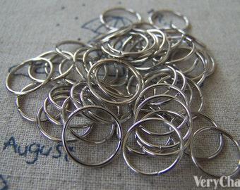 200 pcs of Silvery Gray Nickel Tone Jump Rings 12mm 19gauge A2455
