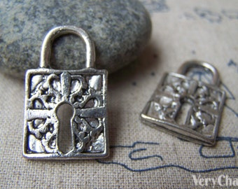 10 pcs of Antique Silver Huge Lock Charms 15x26mm A1922