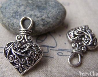 6 pcs of Antique Silver 3D Filigree Swirly Flower Coiled Heart Pendants 20x31mm A1689