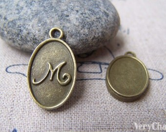 20 pcs of Antique Bronze Initial Letter M Oval Charms 11x16.5mm A2797