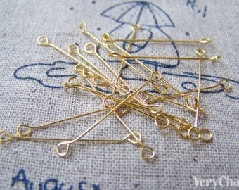 50 pcs Gold Double Sided Eye Pins Connector 25mm 28gauge  A2821