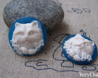 10 pcs of Resin Round Cat Cameo Cabochon Blue 25mm A4048