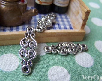 20 pcs of Antique Silver Flower Connector Charms 8.5x25mm A969