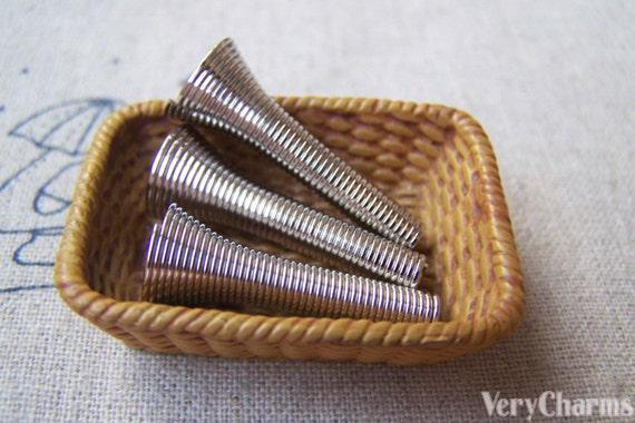 Gray Coil Wire : Pcs of silvery gray nickel tone spring wire coil bead