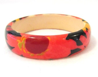 Vintage costume jewelry Lucite Flower Bangle Bracelet