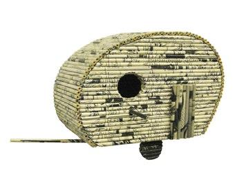 Trailer Birdhouse  - Paper Sculpture - Recycled Comics