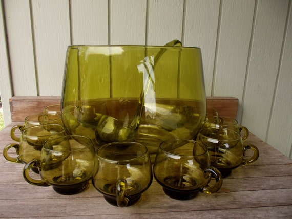 Vintage Dark Green Glass Punch Bowl/11 Cups/1 Ladle