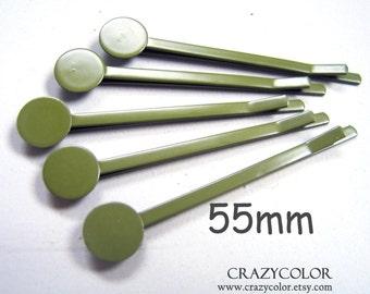 100pcs 55mm Brigh Grey  Green Bobby Pins With Flat Pad 55Y16