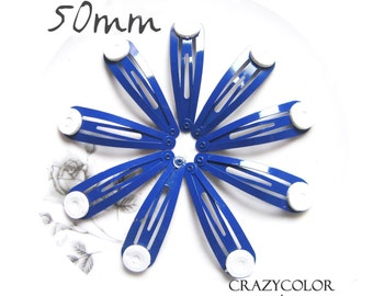 50pcs Bright Navy Hair Snap Clip With Flat Pad 50mm (2 Inch)  50P20