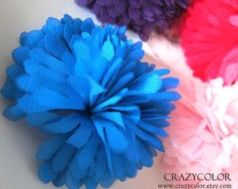 4 pcs Colorful  Chiffon Flower 65mm H8