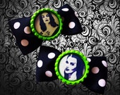 Vampira and Lily Munster polka dot bottle cap hair bows