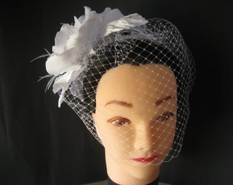 White Flower Birdcage Veil with Handmade Flower ostrich feathers rhinestone