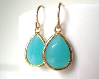 Turquoise Glass Teardrop Earrings, Gold or Silver, Bridesmaids Gifts, Modern, Gemstone,Glass Earrings, Drop, Dangle