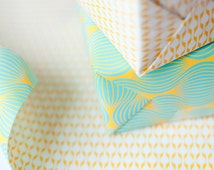 Double Sided Wrapping Paper, blue and yellow print, 3 sheets Stonepaper
