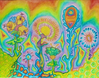 """Original Art Print - home decor- """"Space Flowers""""- Colorful watercolor pencil drawing- Abstract- Landscape- Surreal-  11 x 14"""