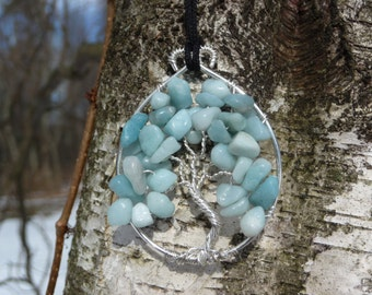 Wire-wrapped Tree of Life Pendant with Amazonite Gemstone Chips