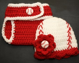 Newborn girl's crochet baseball hat with matching diaper cover