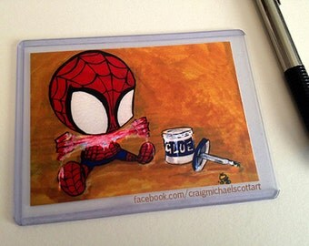 Spiderman ACEO Print Kawaii Marker Geek Baby Art 2.5x3.5