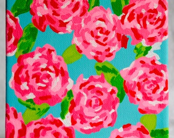 Hand paint Lilly Pulitzer inspired canvas - First Impression