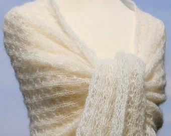 Bridal shawl, cream wedding shawl, wedding stole, wedding wrap,knitted scarf, wrap, kid-mohair / silk, lace, ivory, creamwhite