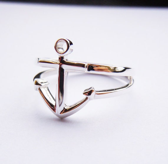 anchor ring in sterling silver handmade by