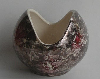 McCoy Cascade Line Flower Bowl Dark Gray White Pink USA Vintage