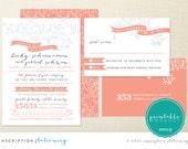 Floral Ribbon Wedding Invite - Printable