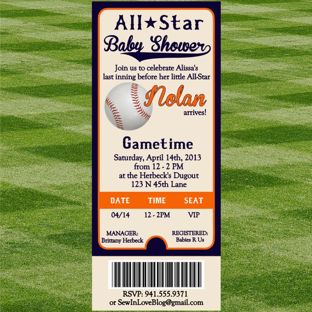 baseball baby shower invitation, Baby shower invitations
