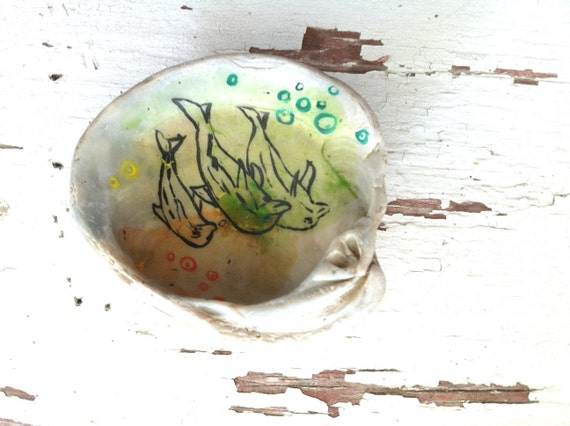 Dolphin Trinket Tray - Hand Painted Seashell