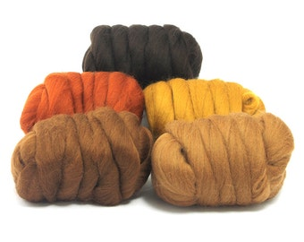 Barky Browns - 5 Colours - Dyed Merino Wool Tops - 250g / 9oz - Wet / Needle Felting - Roving - Spinning