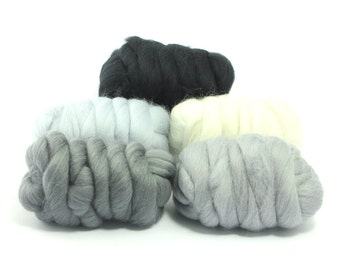Hazy Grey - 5 Colours - Dyed Merino Wool Tops - 250g / 9oz - Wet / Needle Felting - Roving - Spinning