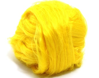 Yellow Dyed Bamboo Top / Roving - Spinning Fibre / Fiber - Felting