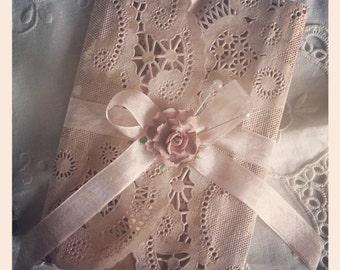 Shabby vintage invitation doily invitation - hand made wedding