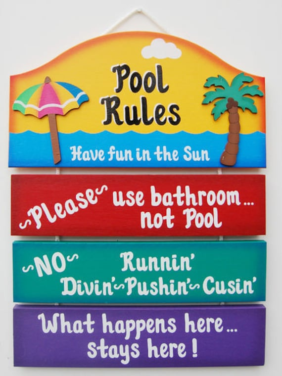 Funny Backyard Signs : Fun Outdoor Pool Sign Pool Rules by ucsign on Etsy