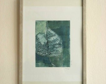 "PRINTMAKING Original Drypoint Etching ""Life of leaf"""