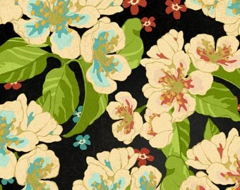 Floral fabric, tropical fabric - Island Jewel Tropical Travelogue by Graphic 45 for Wilmington Prints 85539 974W Black - Remnant 29-Inch