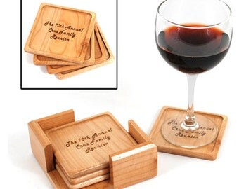 Laser Engraved Wooden Coasters Set of 4
