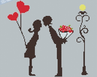 Counted Cross Stitch Pattern PDF Little couple kissing with love