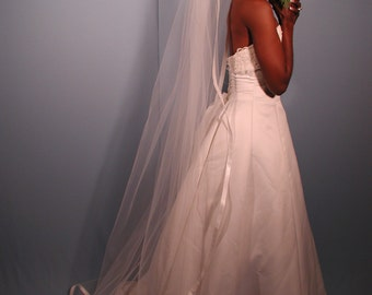 "Wedding veil Chapel length 75"" long with 1"" folded satin ribbon - Bridal veil."