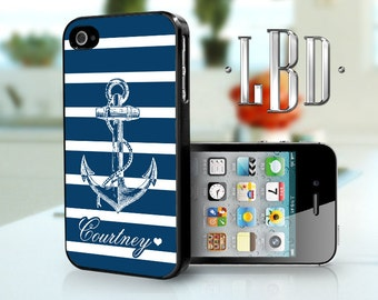 iPhone 4 4s Case - Navy Blue Anchor w/ Stripes Name iP4