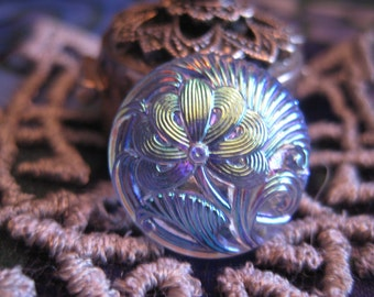 Perfect Peony in Blue Irridescent Czech Glass Button 18mm