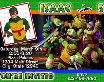 Ninja Turtle Invitation, TMNT Invitations, Ninja Party, Ninja Turtle Birthday Supplies Printables - YOU PRINT