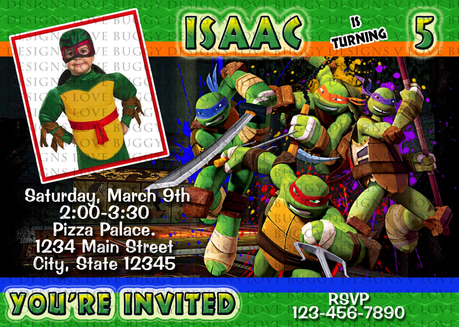 Ninja Turtle Invitation TMNT Invitations Ninja Party Ninja