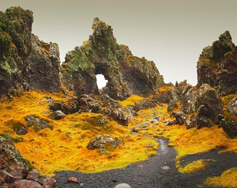 Panoramic photo of the Elf Church, Iceland.Fine Art Photography by Roy Hsu