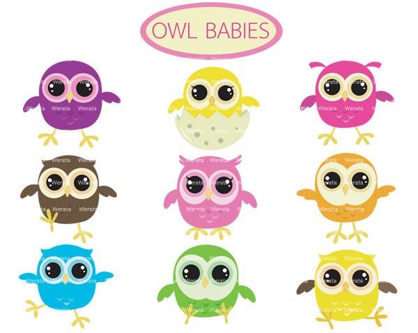 owl baby clip art baby owl Cute Owl Digital Clip Art
