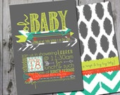 Ikat arrows modern gender neutral two-sided oh baby shower invitation - digital, custom, printable file