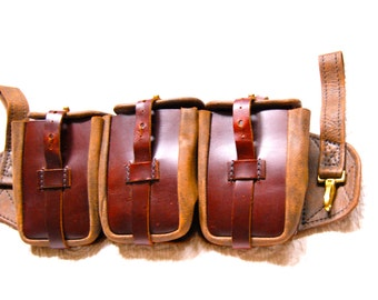 Steampunk Ammo Belt Pouch Brown Leather with 3-Pockets