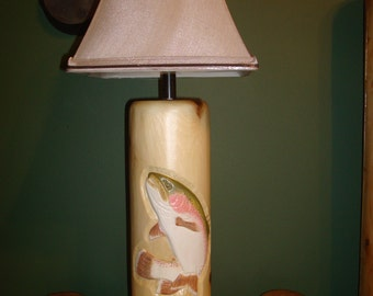 Hand carved  Trout Lamp