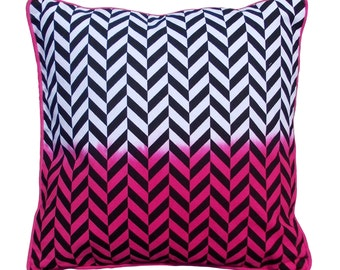 SALE 50% discount, Neon pink ombre Cushion cover in cotton with geometrical pattern printed in black