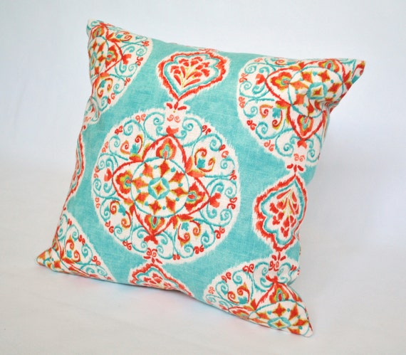 Medallion Throw Pillow Aqua Turquoise Coral Red Linen 16 X 16